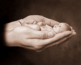 El mundo en línea bebé en manos
